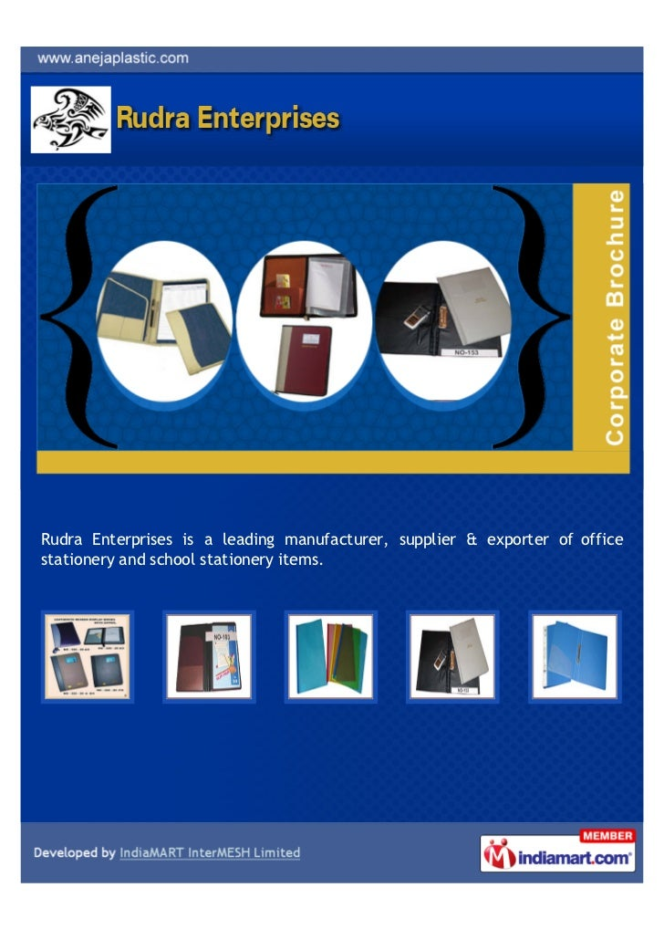 Rudra Enterprises is a leading manufacturer, supplier & exporter of officestationery and school stationery items.