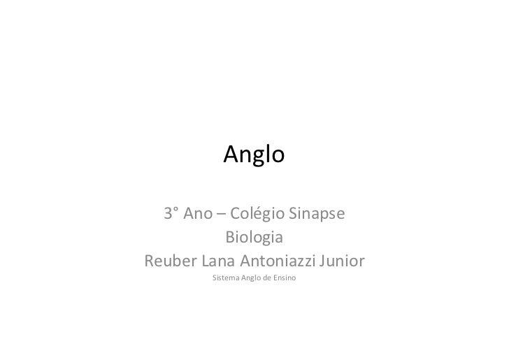 Anglo  3° Ano – Colégio Sinapse          BiologiaReuber Lana Antoniazzi Junior         Sistema Anglo de Ensino