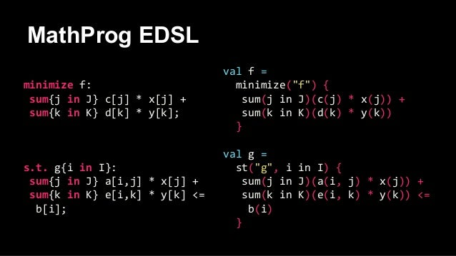 MathProg EDSL minimize f: sum{j in J} c[j] * x[j] + sum{k in K} d[k] * y[k]; s.t. g{i in I}: sum{j in J} a[i,j] * x[j] + s...