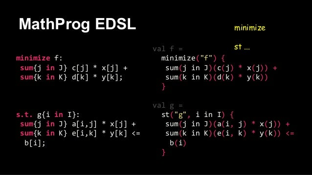 MathProg EDSL minimize st ... minimize f: sum{j in J} c[j] * x[j] + sum{k in K} d[k] * y[k]; s.t. g{i in I}: sum{j in J} a...