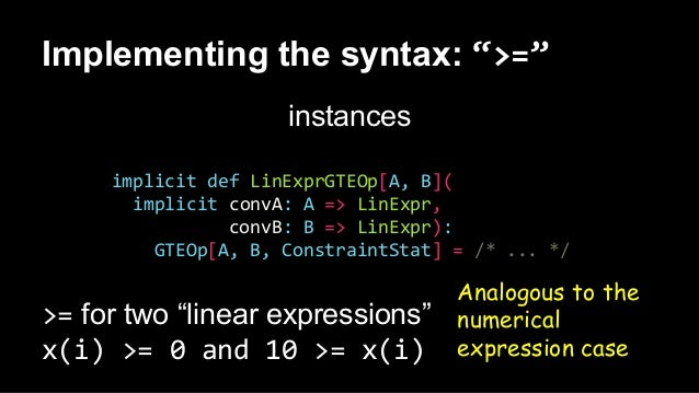 """Implementing the syntax: """">="""" instances implicit def LinExprGTEOp[A, B]( implicit convA: A => LinExpr, convB: B => LinExpr..."""
