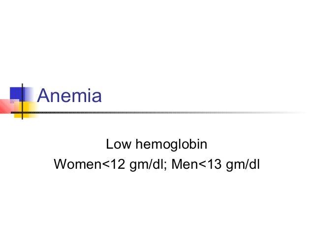 Anemia Low hemoglobin Women<12 gm/dl; Men<13 gm/dl