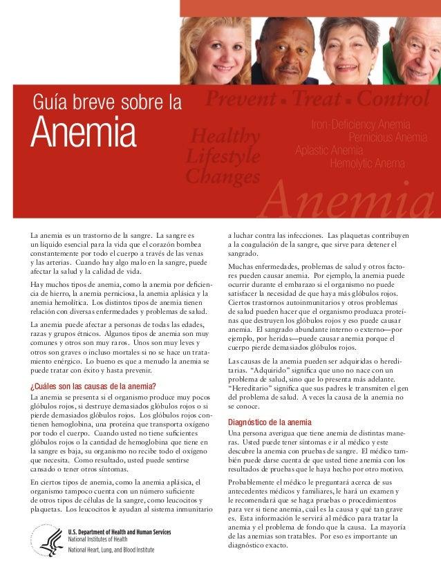 Guía breve sobre laAnemiaLa anemia es un trastorno de la sangre. La sangre es           a luchar contra las infecciones. L...