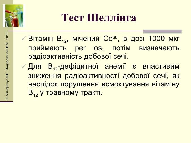 Тест Шеллінга  <ul><li>Вітамін В 12 , мічений Со 60 , в дозі 1000 мкг приймають  per os , потім визначають радіоактивність...