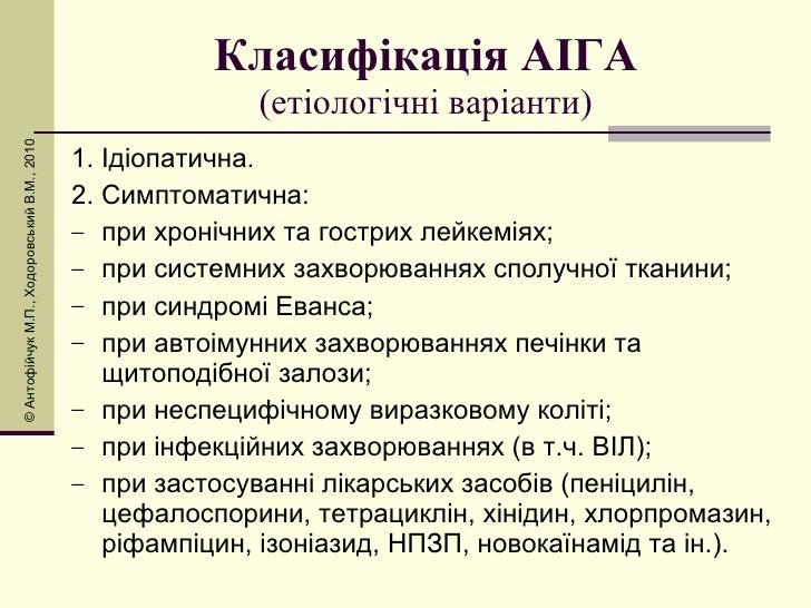 Класифікація АІГА (етіологічні варіанти) <ul><li>1. Ідіопатична. </li></ul><ul><li>2. Симптоматична: </li></ul><ul><li>при...
