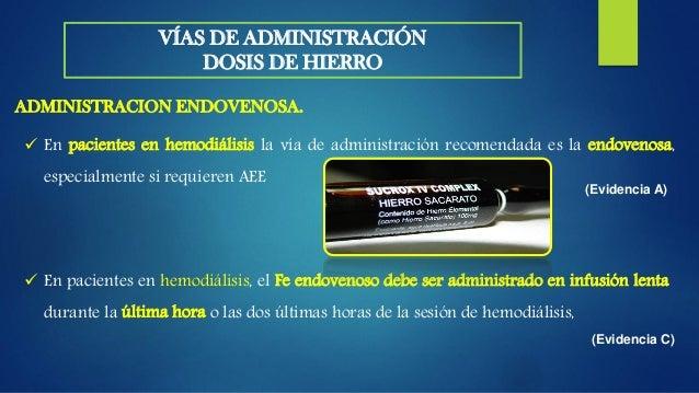  La prescripción de dosis elevadas de Fe sacarato en bolo endovenoso suele asociarse a efectos secundarios, calor, mareos...