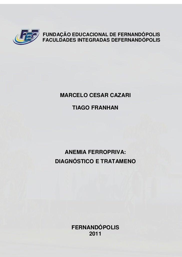 FUNDAÇÃO EDUCACIONAL DE FERNANDÓPOLISFACULDADES INTEGRADAS DEFERNANDÓPOLIS     MARCELO CESAR CAZARI         TIAGO FRANHAN ...