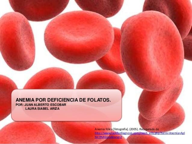 ANEMIA POR DEFICIENCIA DE FOLATOS.  POR: JUAN ALBERTO ESCOBAR  LAURA SIABEL ARIZA  Anemia fólica [fotografía]. (2005). Rec...