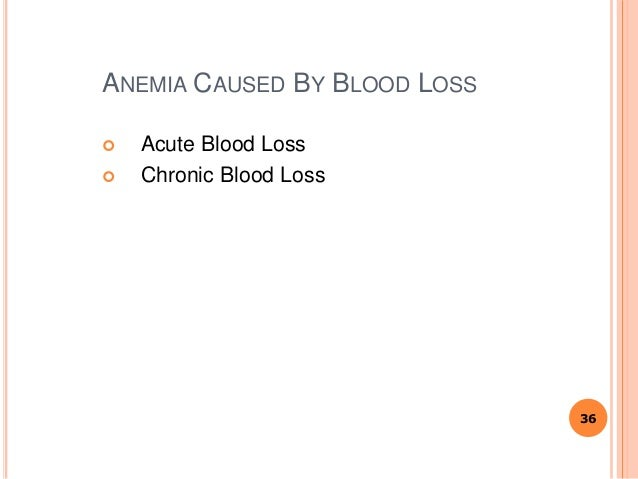 ANEMIA CAUSED BY BLOOD LOSS  Acute Blood Loss  Chronic Blood Loss 36