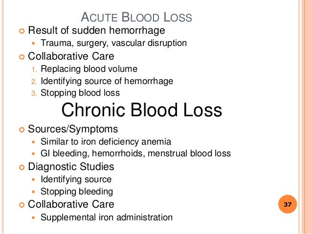 ACUTE BLOOD LOSS  Result of sudden hemorrhage  Trauma, surgery, vascular disruption  Collaborative Care 1. Replacing bl...