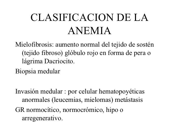 CLASIFICACION DE LA ANEMIA <ul><li>Mielofibrosis: aumento normal del tejido de sostén (tejido fibroso) glóbulo rojo en for...