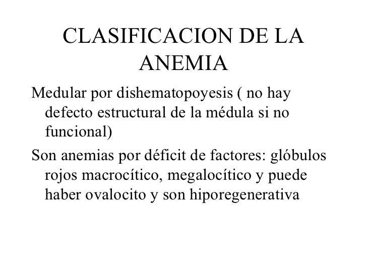 CLASIFICACION DE LA ANEMIA <ul><li>Medular por dishematopoyesis ( no hay defecto estructural de la médula si no funcional)...