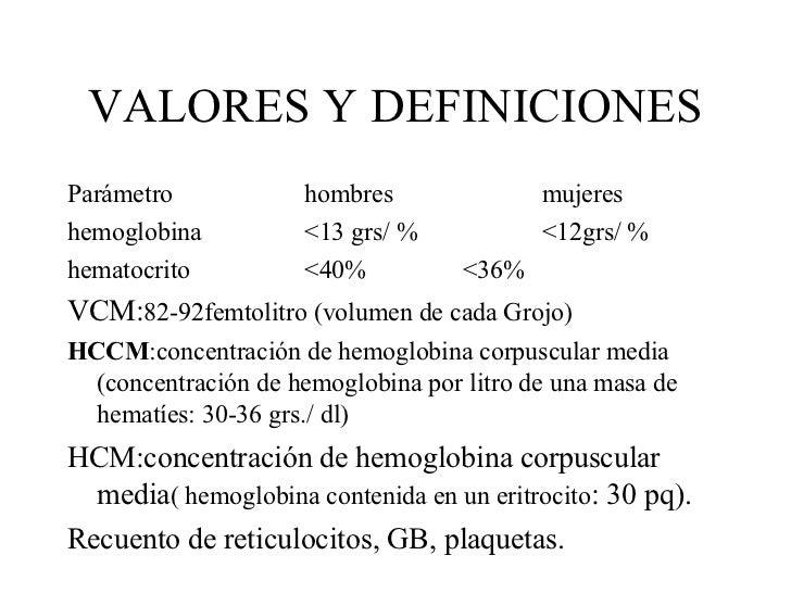 VALORES Y DEFINICIONES <ul><li>Parámetro hombres mujeres </li></ul><ul><li>hemoglobina <13 grs/ % <12grs/ % </li></ul><ul>...