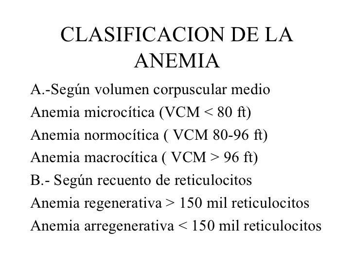 CLASIFICACION DE LA ANEMIA <ul><li>A.-Según volumen corpuscular medio </li></ul><ul><li>Anemia microcítica (VCM < 80 ft) <...