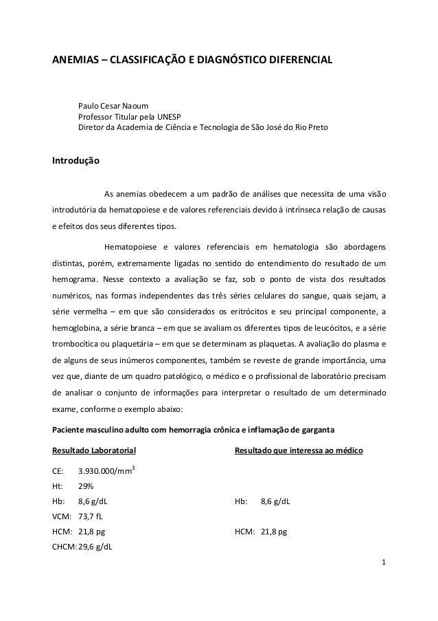 1 ANEMIAS – CLASSIFICAÇÃO E DIAGNÓSTICO DIFERENCIAL Paulo Cesar Naoum Professor Titular pela UNESP Diretor da Academia de ...