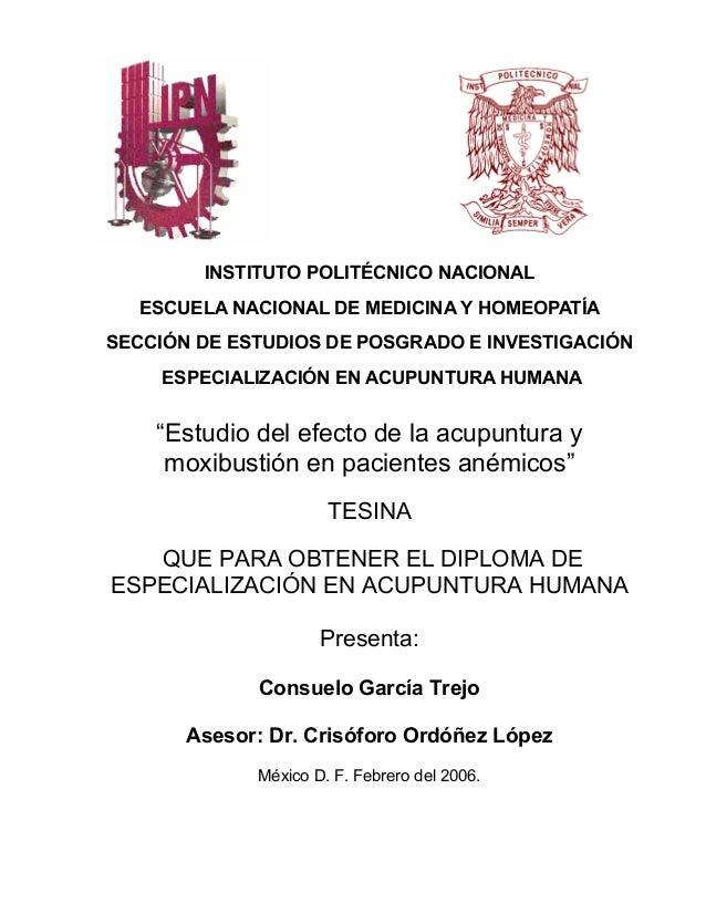 INSTITUTO POLITÉCNICO NACIONAL ESCUELA NACIONAL DE MEDICINA Y HOMEOPATÍA SECCIÓN DE ESTUDIOS DE POSGRADO E INVESTIGACIÓN E...