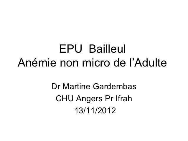 EPU BailleulAnémie non micro de l'Adulte      Dr Martine Gardembas       CHU Angers Pr Ifrah           13/11/2012