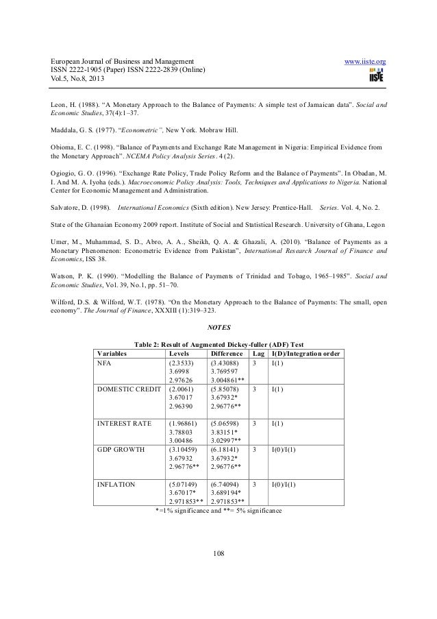 Research paper on balance of payments