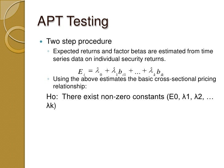 capm vs apt an empirical analysis Jarrow and a rudd, a comparison of the apt and capm 297 and f represents the random return on the factor, b~(oo) is the loading of the ith asset onto the factor, us is the random specific return on the ith asset.