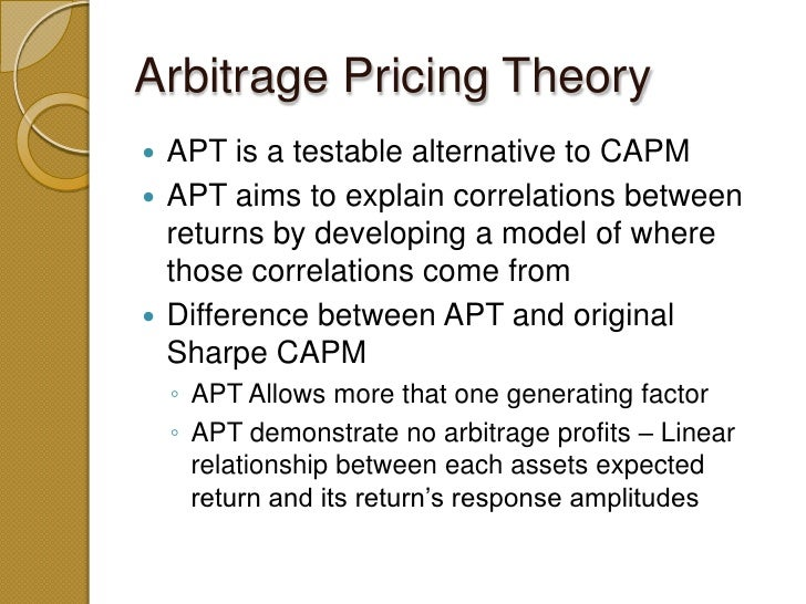 an introduction to the concepts of capm and apt The second edition of the book on security analysis and portfolio management covers  methods of security analysis  (capm), arbitrage pricing theory.