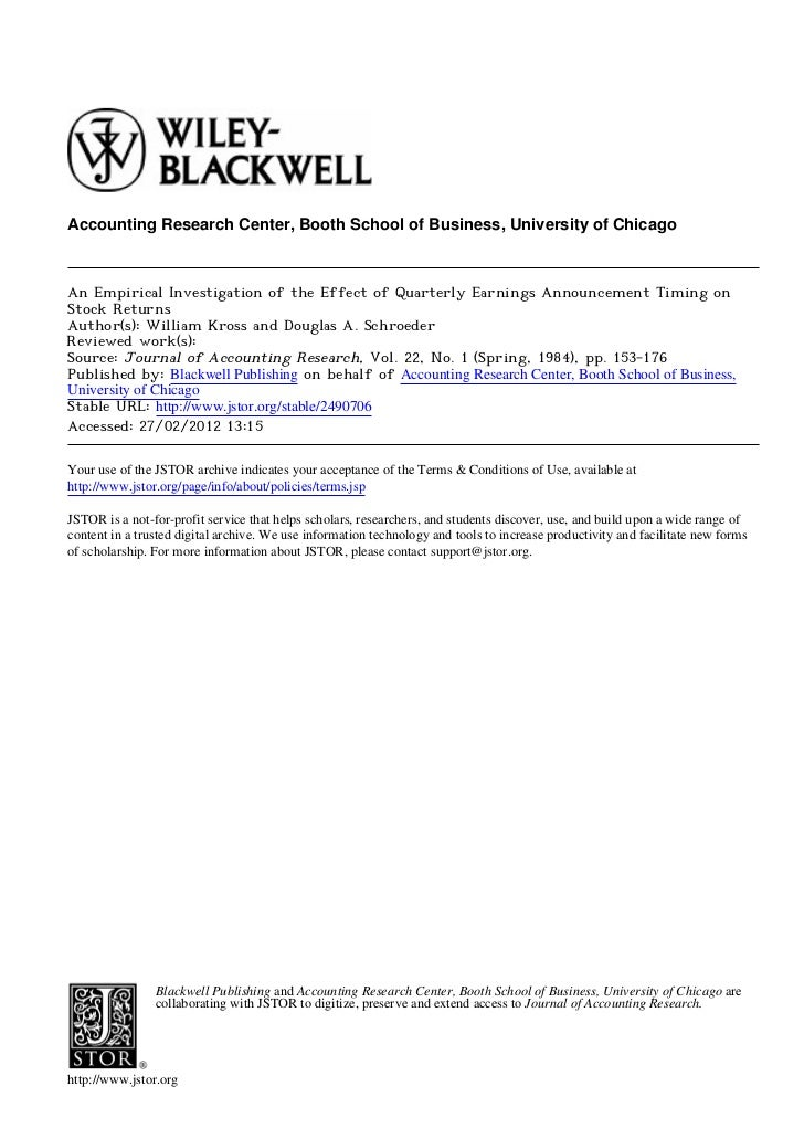 Accounting Research Center, Booth School of Business, University of ChicagoAn Empirical Investigation of the Effect of Qua...