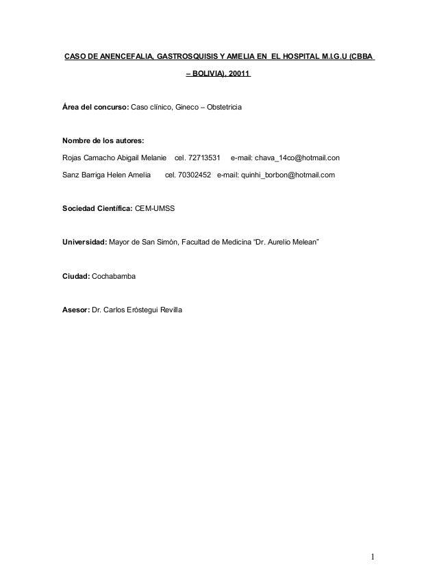 CASO DE ANENCEFALIA, GASTROSQUISIS Y AMELIA EN EL HOSPITAL M.I.G.U (CBBA – BOLIVIA), 20011  Área del concurso: Caso clínic...