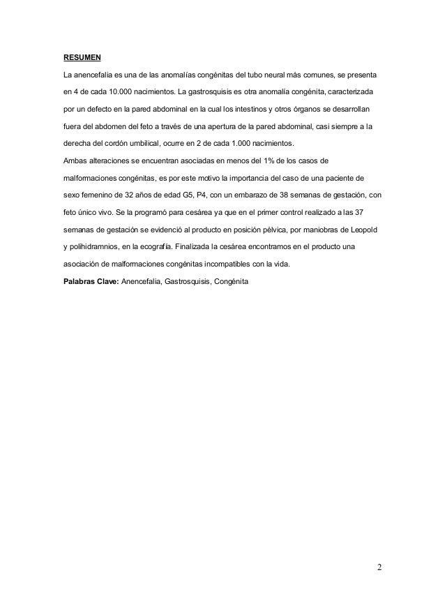 Anencefalia y gastrosquisis en  el hospital materno infantil german urquidi Slide 2