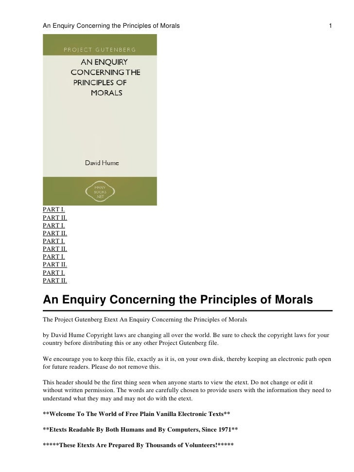 An Enquiry Concerning the Principles of Morals                                                                1PART I.PART...