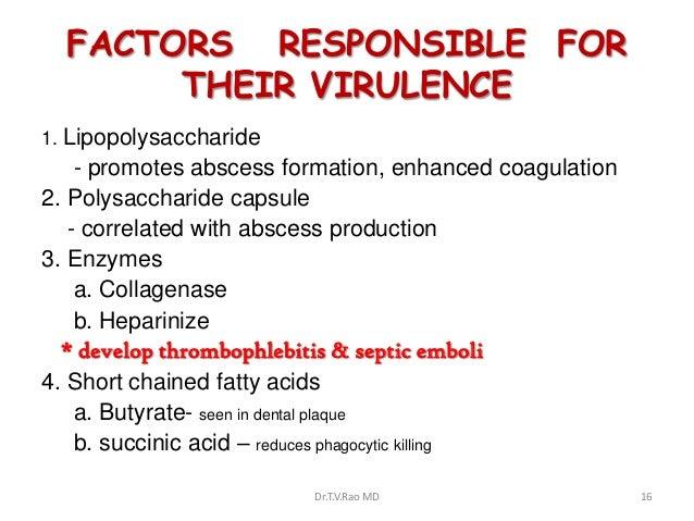 FACTORS RESPONSIBLE FOR       THEIR VIRULENCE1. Lipopolysaccharide    - promotes abscess formation, enhanced coagulation2....