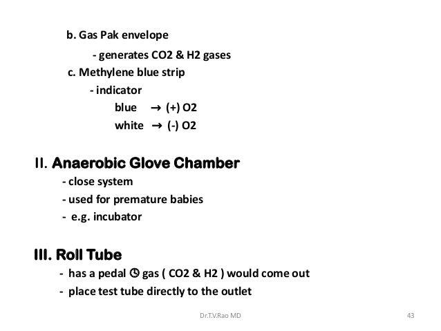 b. Gas Pak envelope          - generates CO2 & H2 gases     c. Methylene blue strip         - indicator               blue...