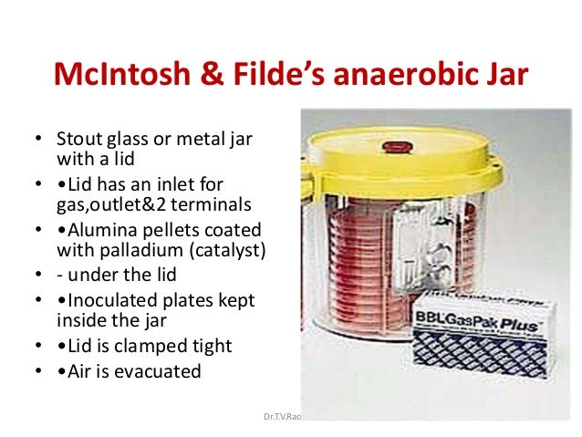 McIntosh & Filde's anaerobic Jar• Stout glass or metal jar  with a lid• •Lid has an inlet for  gas,outlet&2 terminals• •Al...