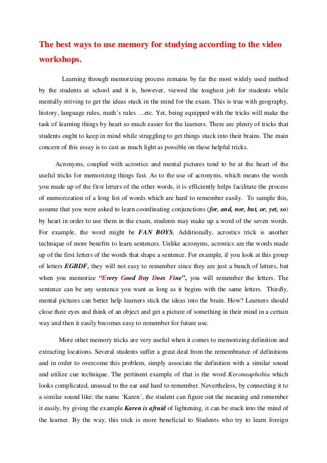 essay on memory  towerssconstructionco an essay on memory tricks