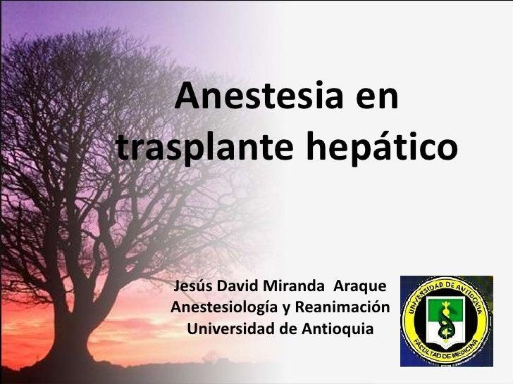 Anestesia en trasplante hepático<br />Jesús David Miranda  Araque<br />Anestesiología y Reanimación <br />Universidad de A...