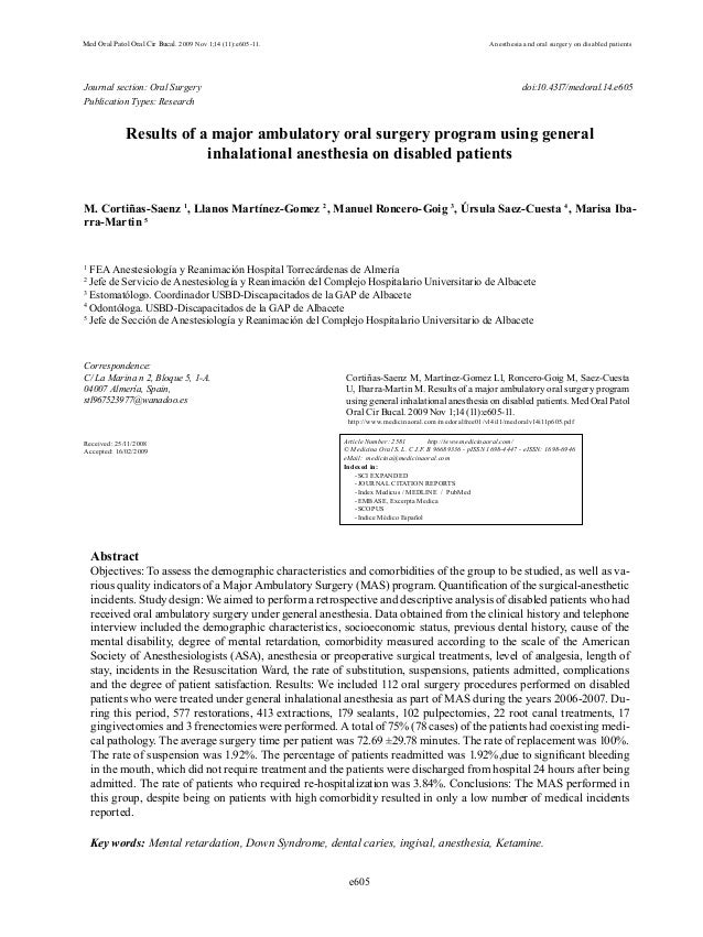 e605Med Oral Patol Oral Cir Bucal. 2009 Nov 1;14 (11):e605-11. Anesthesia and oral surgery on disabled patientsJournal sec...