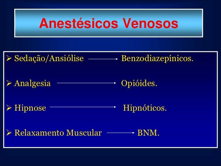 Anestésicos Venosos Sedação/Ansiólise      Benzodiazepínicos. Analgesia              Opióides. Hipnose                H...
