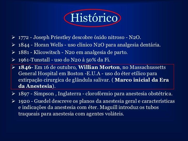 Histórico 1772 - Joseph Priestley descobre óxido nitroso - N2O. 1844 - Horan Wells - uso clínico N2O para analgesia dent...