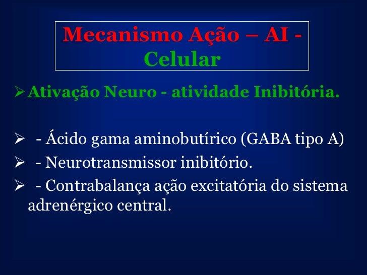 Mecanismo Ação – AI - CelularInibição da Neuro - atividade excitatória - Glutamato e seu Receptor n-metil d- aspartato (...