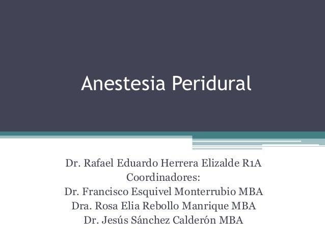 Anestesia Peridural  Dr. Rafael Eduardo Herrera Elizalde R1A Coordinadores: Dr. Francisco Esquivel Monterrubio MBA Dra. Ro...