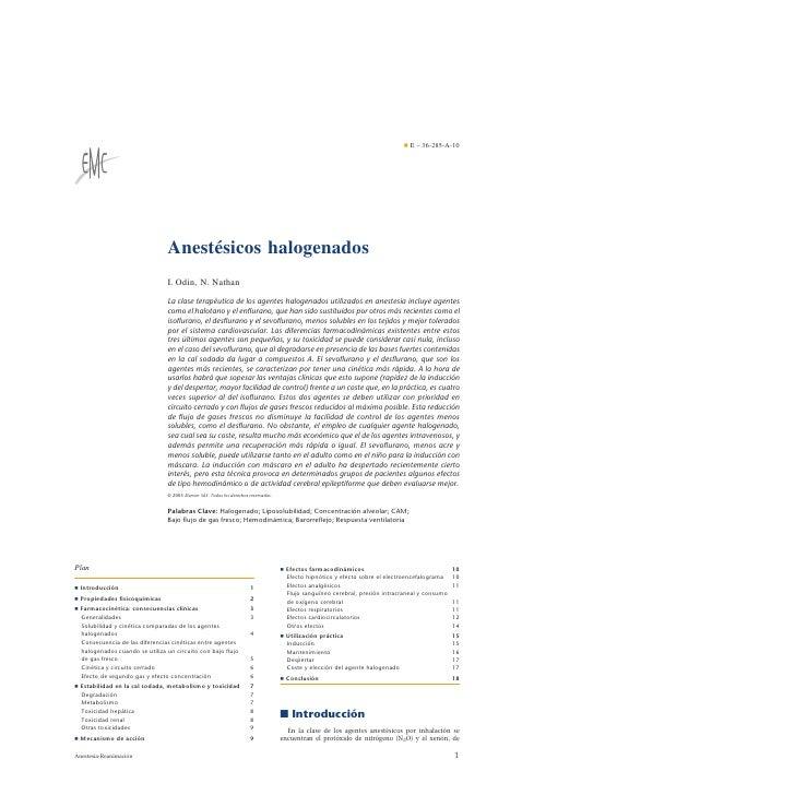 ¶ E – 36-285-A-10                                     Anestésicos halogenados                                 I. Odin, N. ...