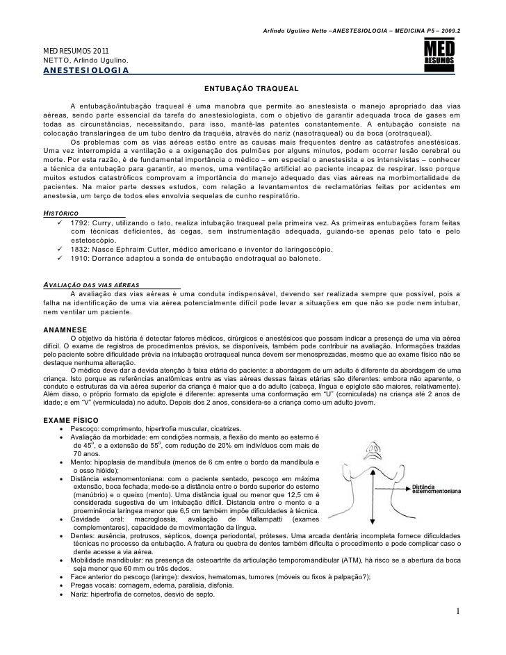 Arlindo Ugulino Netto –ANESTESIOLOGIA – MEDICINA P5 – 2009.2MED RESUMOS 2011NETTO, Arlindo Ugulino.ANESTESIOLOGIA         ...