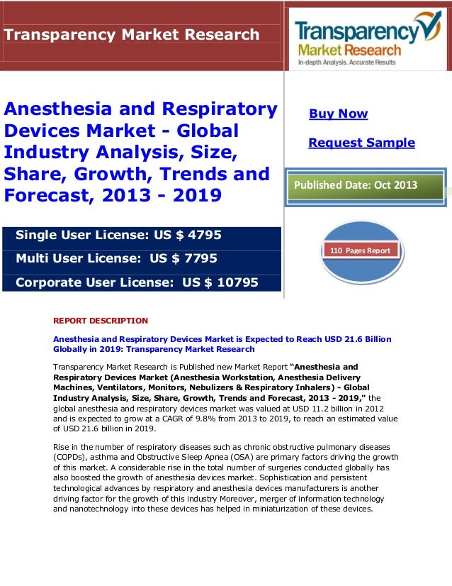 REPORT DESCRIPTION Anesthesia and Respiratory Devices Market is Expected to Reach USD 21.6 Billion Globally in 2019: Trans...