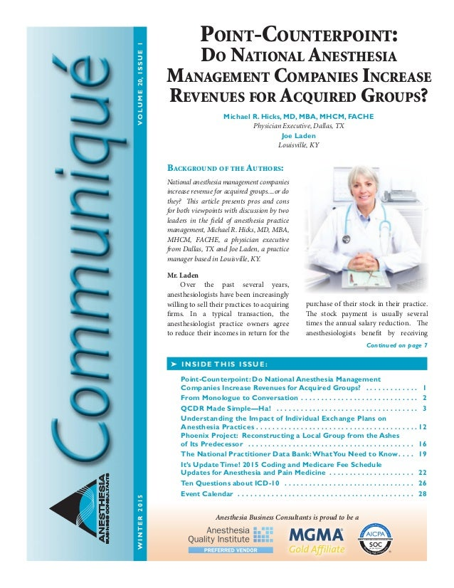 ANESTHESIA BUSINESSCONSULTANTS Background Of The Authors National Anesthesia Management Companies Increase Revenue For Ac