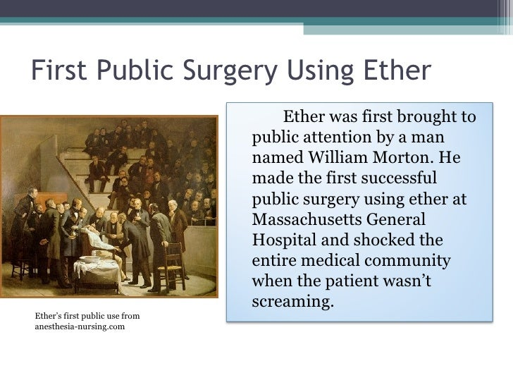 the history of anesthesia There was a time when all the pain alleviation involved in surgery was a little cotton wool in the surgeon's ears to keep the screams of the patient from hurting them fortunately, things have.