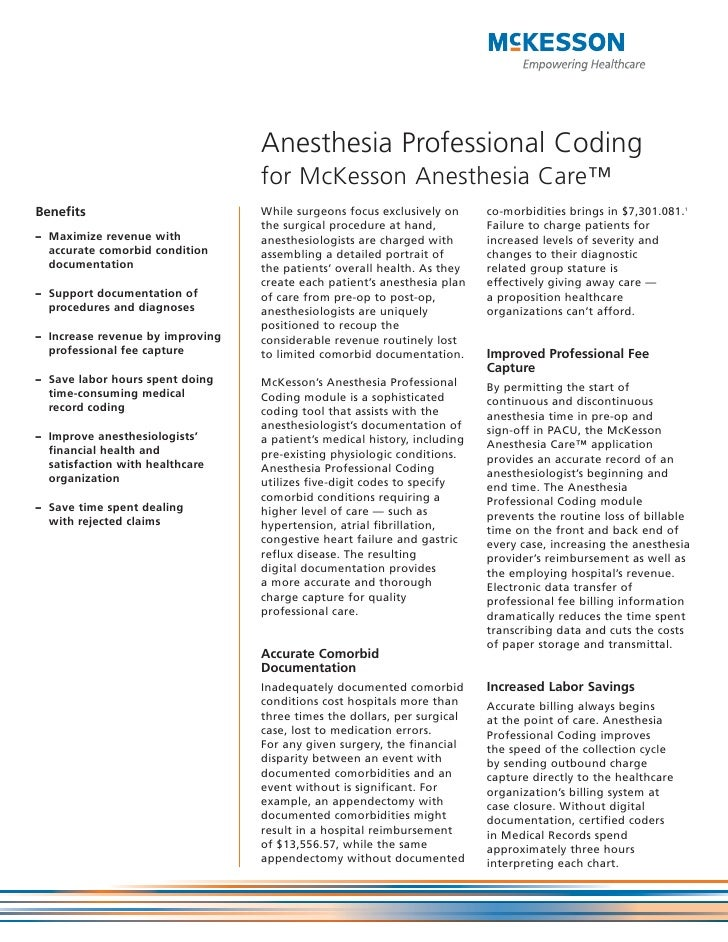 Anesthesia Professional Coding                                  for McKesson Anesthesia Care™Benefits                     ...