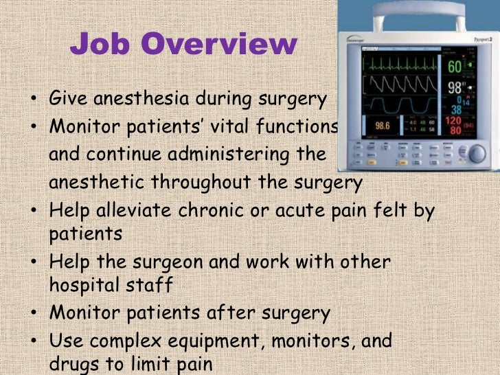 An overview of the work of anesthesiologist in medical research and doctrine