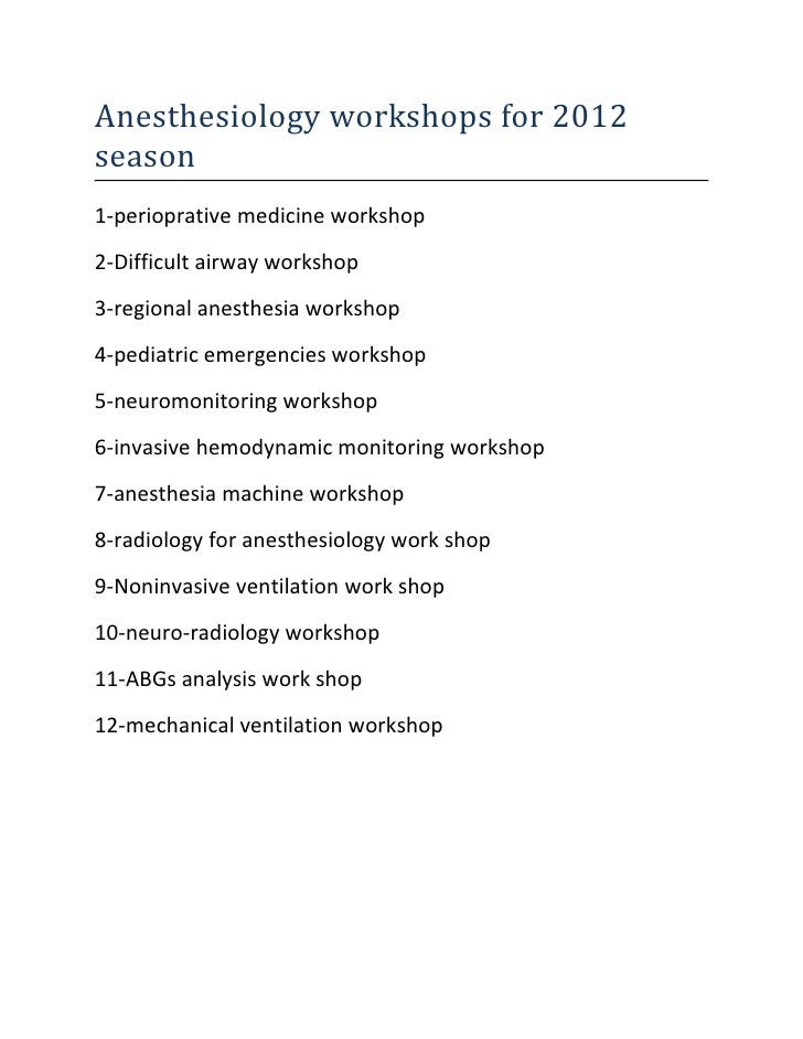 Anesthesiology workshops for 2012 season