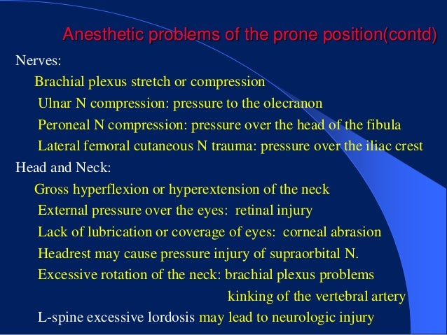 Anesthetic problems of the prone position(contd)Nerves:  Brachial plexus stretch or compression   Ulnar N compression: pre...