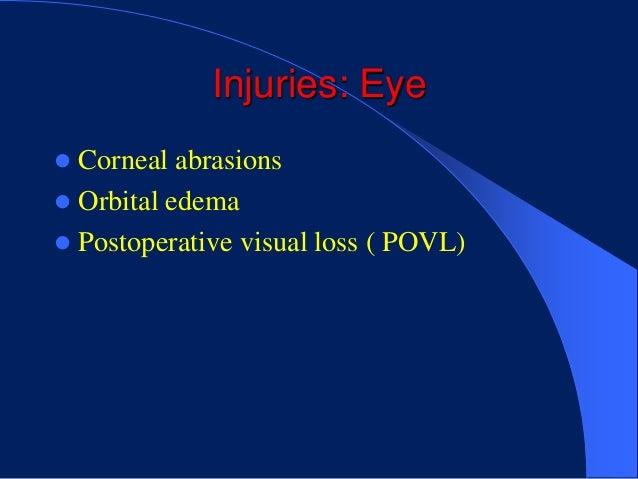 Injuries: Eye Corneal abrasions Orbital edema Postoperative visual loss ( POVL)