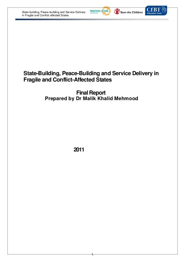 State-building, Peace-building and Service Deliveryin Fragile and Conflict-affected States State-Building, Peace-Building ...