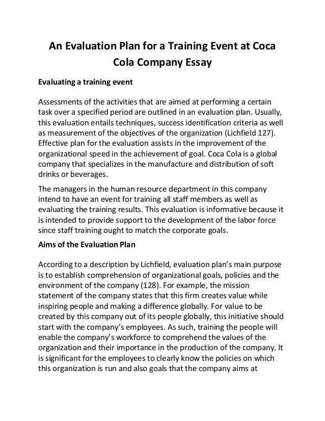 An evaluation plan for a training event at coca cola company essay – Evaluation Plan
